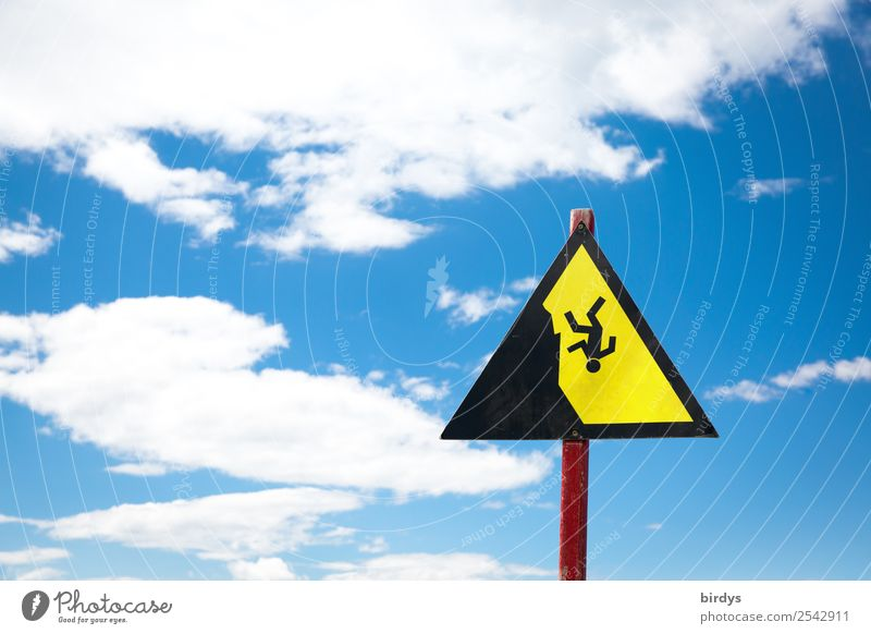 Crashes happen again and again Sky Clouds Sign Signage Warning sign To fall Authentic Infinity Tall Blue Yellow Black White Dream Fear Fear of heights