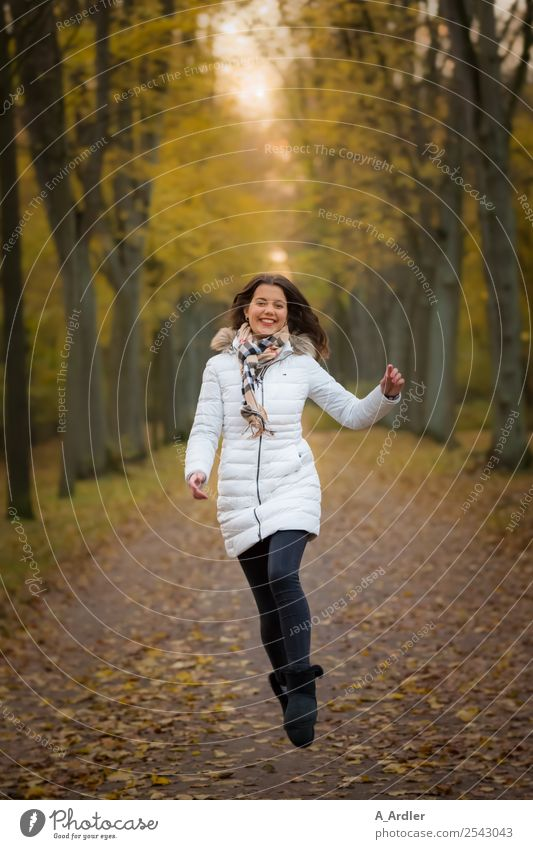 Airy joy jump in the woods. Human being Feminine Young woman Youth (Young adults) 1 18 - 30 years Adults Nature Autumn Park Pedestrian Lanes & trails Fashion