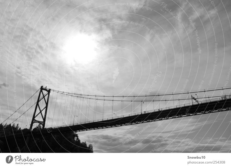 Human being Vacation & Travel Far-off places Coast Walking Exceptional Tourism Bridge Manmade structures Tourist Attraction Sightseeing Canada Pedestrian Port City Black & white photo Vancouver