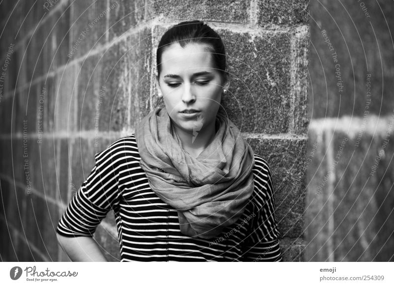 grey tones Feminine Young woman Youth (Young adults) 1 Human being 18 - 30 years Adults Beautiful Meditative Black & white photo Exterior shot Copy Space left
