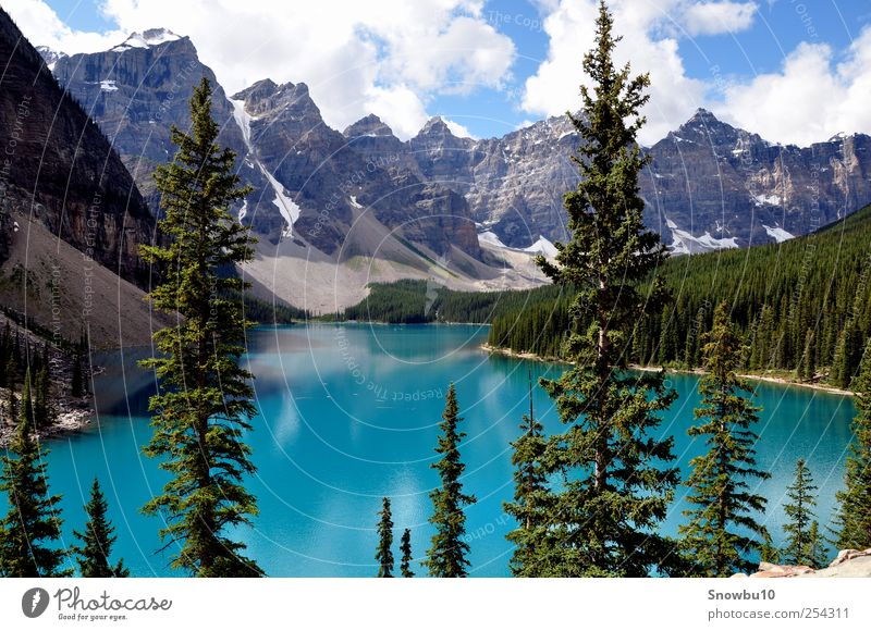 Moraine Lake, Rocky Mountains Vacation & Travel Tourism Trip Adventure Far-off places Freedom Nature Landscape Water Clouds Summer Moraine lake Alberta