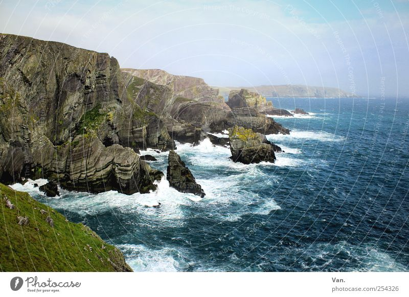 Mizen Head Vacation & Travel Summer vacation Environment Nature Landscape Earth Water Sky Clouds Beautiful weather Wind Grass Moss Rock Waves Coast Bay Ocean