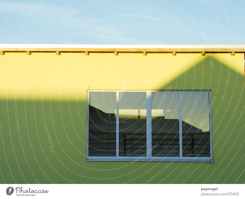 flat roof Yellow Wall (building) Simple Window Reflection Architecture Shadow