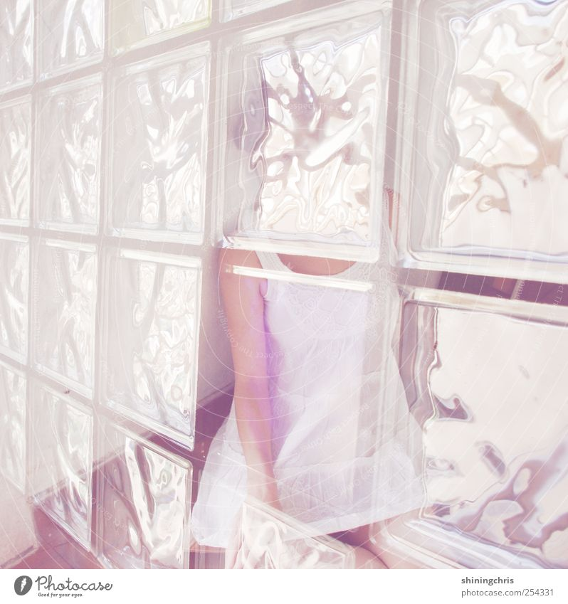 Human being Youth (Young adults) Feminine Window Emotions Adults Moody Bright Glass Exceptional Romance Dress Delicate 18 - 30 years Double exposure Transparent