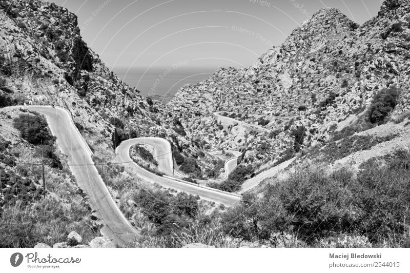 Winding mountain road. Vacation & Travel Summer Landscape Far-off places Mountain Street Coast Tourism Freedom Trip Rock Adventure Cycling tour Hill Spain Risk