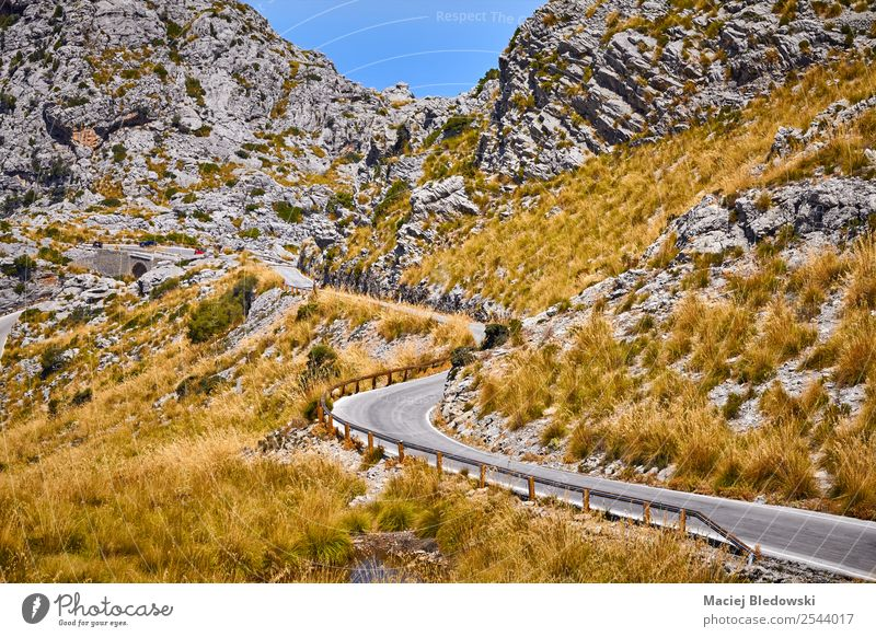 Curvy stretch of a mountain road. Vacation & Travel Tourism Trip Adventure Far-off places Freedom Expedition Cycling tour Summer Mountain Landscape Autumn Hill