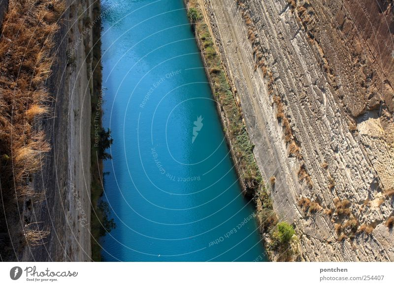 Corinth Canal Nature Elements Water Blue Channel Greece Grass Tourist Attraction Deep Colour photo Exterior shot Day