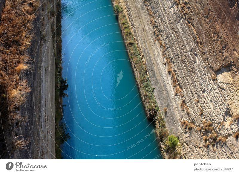 Nature Water Blue Grass Elements Deep Tourist Attraction Greece Channel Corinth