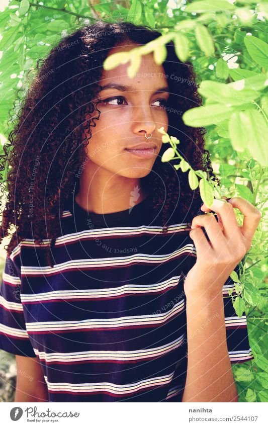 Young woman enjoying nature Woman Human being Nature Youth (Young adults) Summer Plant Beautiful Green Tree 18 - 30 years Black Face Lifestyle Adults Spring