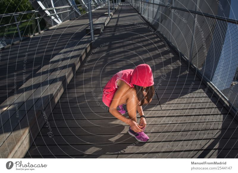 Anonymous woman runner tying shoe laces Lifestyle Happy Beautiful Body Wellness Summer Sports Jogging Human being Woman Adults Footwear Fitness Runner running