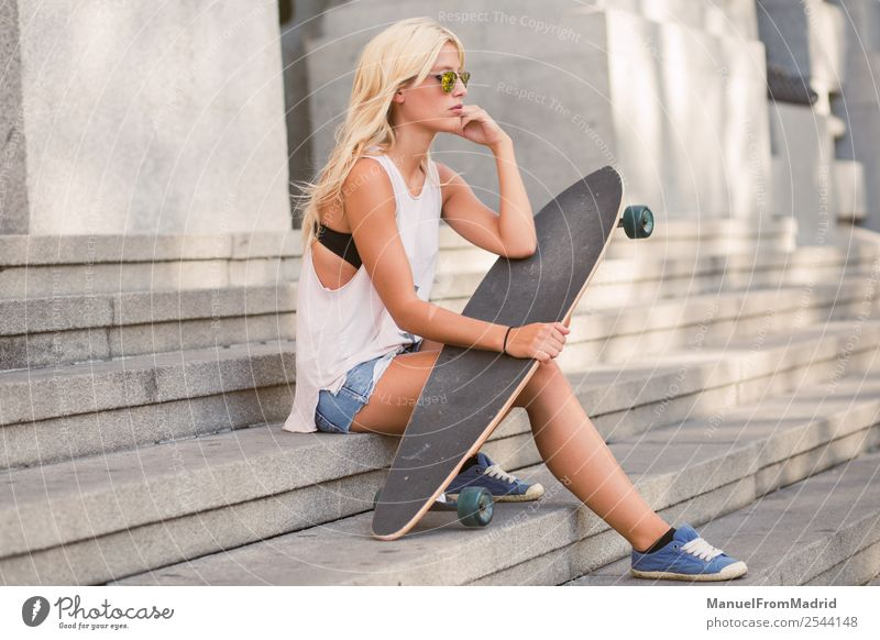 female skater portrait Lifestyle Style Beautiful Summer Woman Adults Street Fashion Sunglasses Blonde Think Sit Cool (slang) Hip & trendy young casual