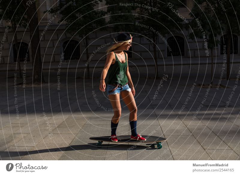 woman skating in the street Lifestyle Style Joy Beautiful Summer Woman Adults Street Fashion Sunglasses Blonde Smiling Cool (slang) Hip & trendy young casual