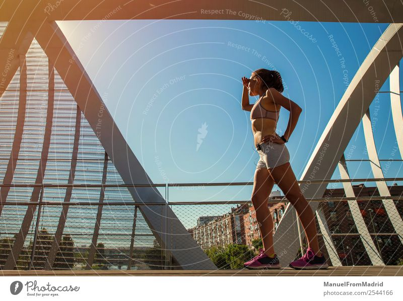 female runner portrait Lifestyle Happy Beautiful Body Wellness Summer Sports Jogging Human being Woman Adults Fitness Runner running scanning horizon workout