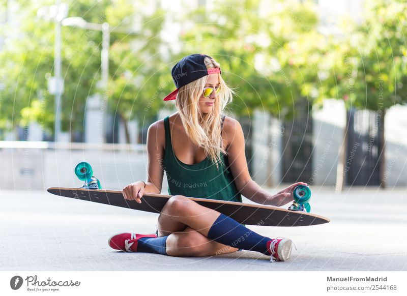 female skater portrait Lifestyle Style Joy Beautiful Summer Woman Adults Street Fashion Sunglasses Blonde Sit Cool (slang) Hip & trendy young casual Skateboard