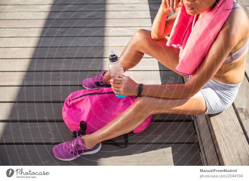 female runner resting Lifestyle Happy Beautiful Body Wellness Summer Sports Jogging Human being Woman Adults Fitness Sit Runner Resting exhausted Perspire