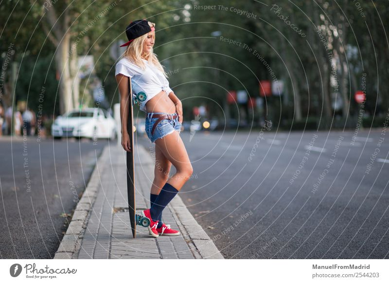 young beautiful skater woman Lifestyle Style Beautiful Summer Woman Adults Street Fashion Blonde Think Smiling Stand Cool (slang) Hip & trendy casual cheerful