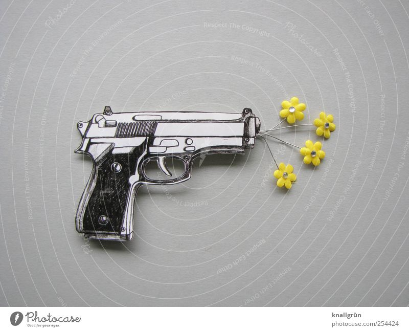 Say it through the flower! Flower Handgun Blossoming Threat Yellow Gray Black White Emotions Cool (slang) Optimism Bizarre Joy Idea Creativity Rescue Whimsical