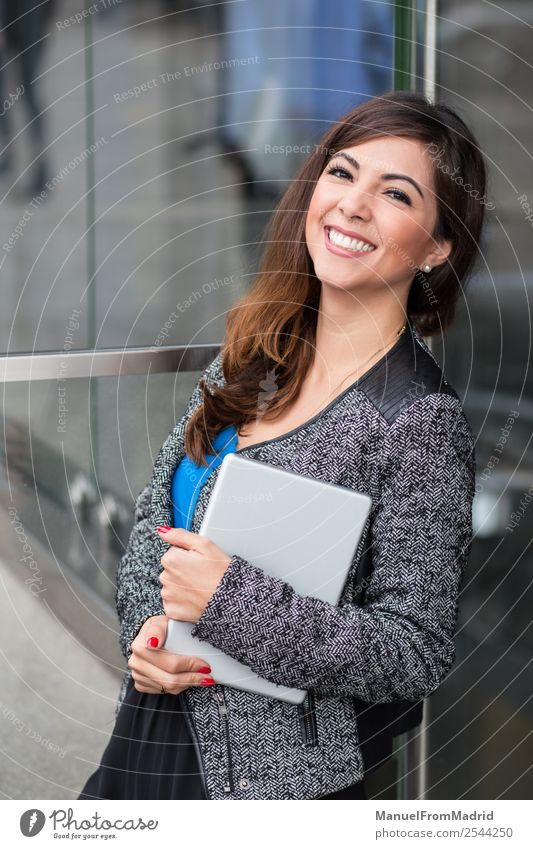 cheerful businesswoman portrait Happy Beautiful Office Business Computer Technology Woman Adults Building Smiling Stand Modern Businesswoman using