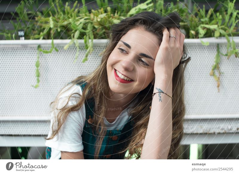 Portrait of smiling Young woman with plants Human being Youth (Young adults) Plant Beautiful Joy Lifestyle Healthy Environment Natural Happy Grass Think
