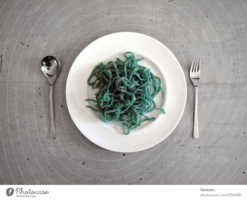 Green Nutrition Food Table Sweet Candy Crockery Plate Lunch Cutlery Fork Spoon Spaghetti Colour Bird's-eye view