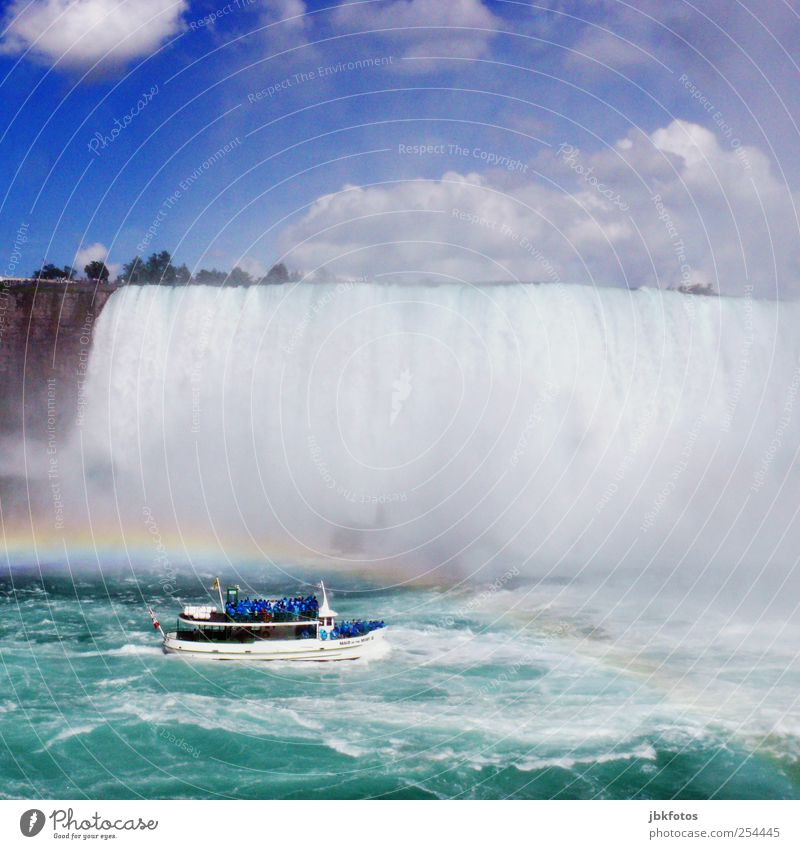 joyride Environment Nature Elements Water To fall Fantastic Gigantic Kitsch Blue Canada Niagara Falls (USA) Boating trip Waterfall Rainbow Torrents of water