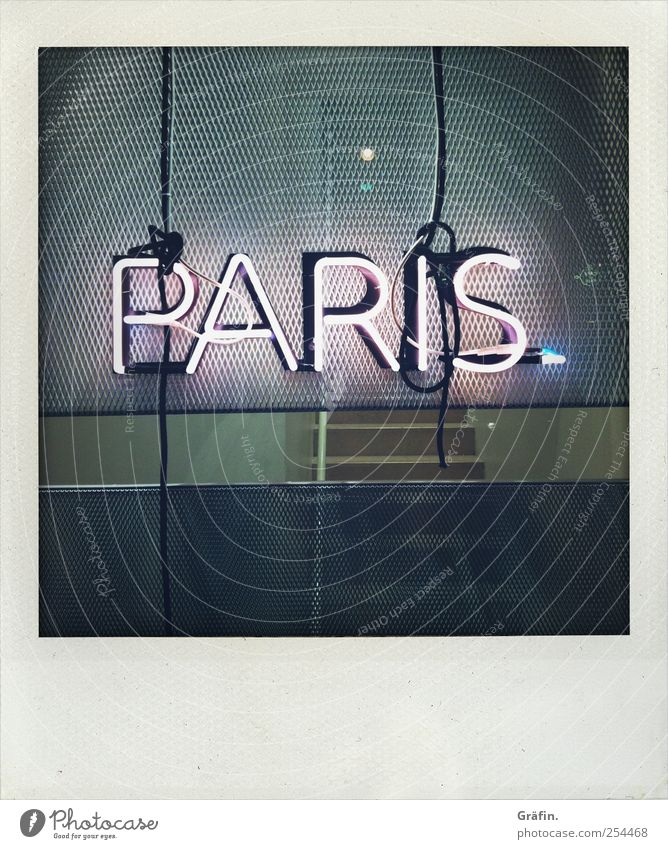 Paris Lamp Characters Signs and labeling Signage Warning sign Illuminate Kitsch Gray Town Word Lighting Neon light Letters (alphabet) Colour photo Exterior shot