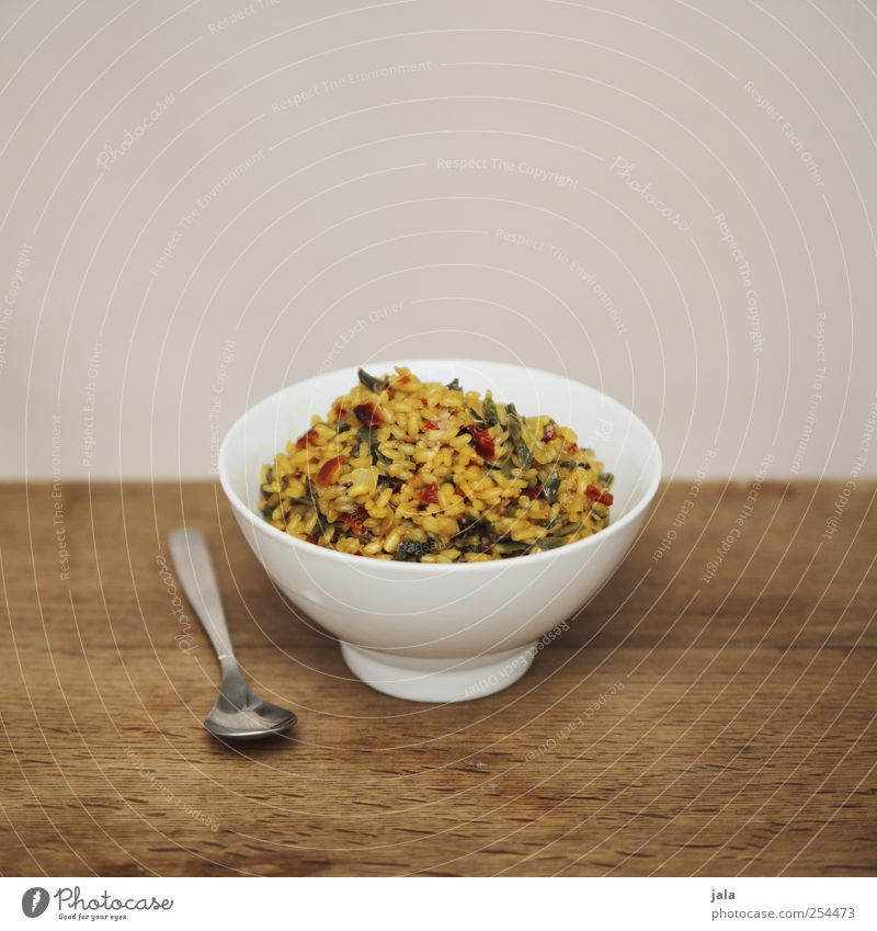 rizzi bizzi Food Vegetable Rice Nutrition Lunch Organic produce Vegetarian diet Crockery Bowl Spoon Healthy Delicious Appetite Natural Wooden table Colour photo