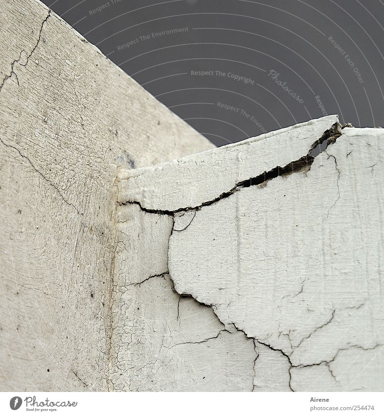Old White Wall (building) Wall (barrier) Gray Stone Line Facade Living or residing Concrete Transience Broken Stress Crack & Rip & Tear Sharp-edged Ruin