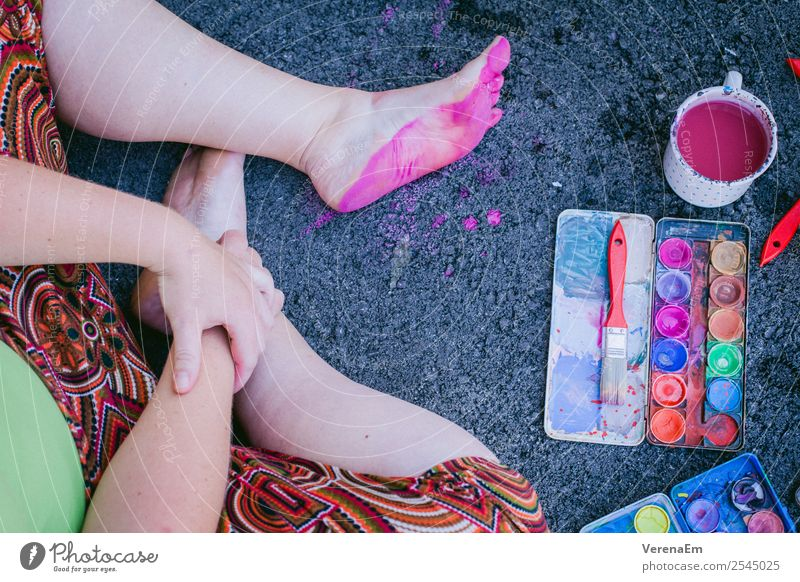 pink footsteps Handicraft Handcrafts Body Legs Feet 1 Human being 18 - 30 years Youth (Young adults) Adults 30 - 45 years Art Artist Painter Sit Esthetic