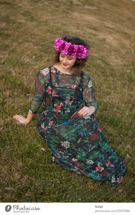 Beautiful curvy girl Lifestyle Happy Hair and hairstyles Make-up Human being Woman Adults Nature Landscape Flower Grass Street Fashion Dress Smiling Sit