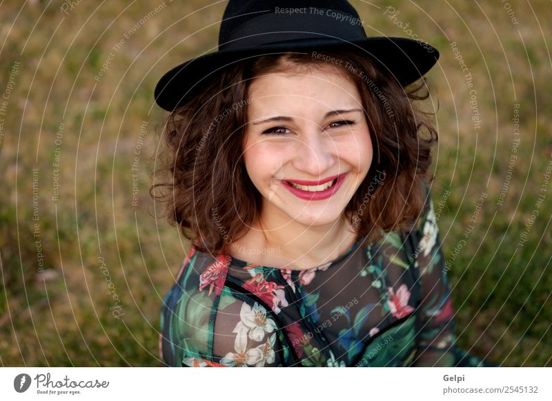 Beautiful curvy girl Lifestyle Happy Hair and hairstyles Make-up Human being Woman Adults Landscape Grass Street Fashion Dress Hat Smiling Friendliness Large