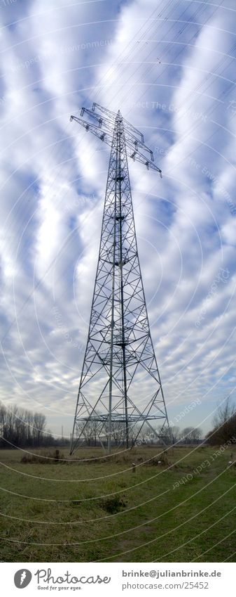 White Green Blue Clouds Meadow Large Industry Electricity Electricity pylon Rhine Guinea pig Krefeld