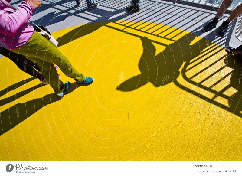 sun deck Vacation & Travel Ferry Maritime Ocean Crossing Travel photography Watercraft Navigation Scandinavia Copy Space Sun Light Shadow Human being Legs Stand