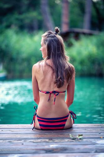 Woman Human being Vacation & Travel Youth (Young adults) Beautiful Water Calm 18 - 30 years Adults Swimming & Bathing Contentment Meditative Sit Back