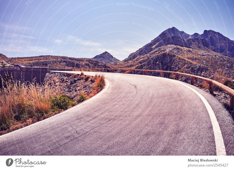 Mountain road bend. Vacation & Travel Tourism Trip Adventure Far-off places Freedom Sightseeing Expedition Camping Cycling tour Summer Summer vacation Nature