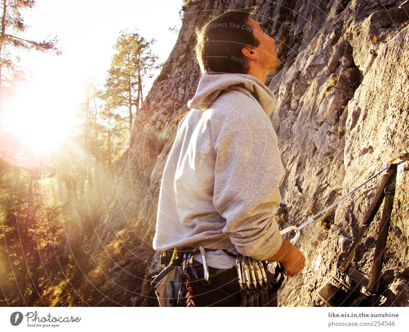 Human being Nature Youth (Young adults) Forest Relaxation Autumn Sports Landscape Mountain Adults Couple Glittering Rock Masculine Bushes Observe