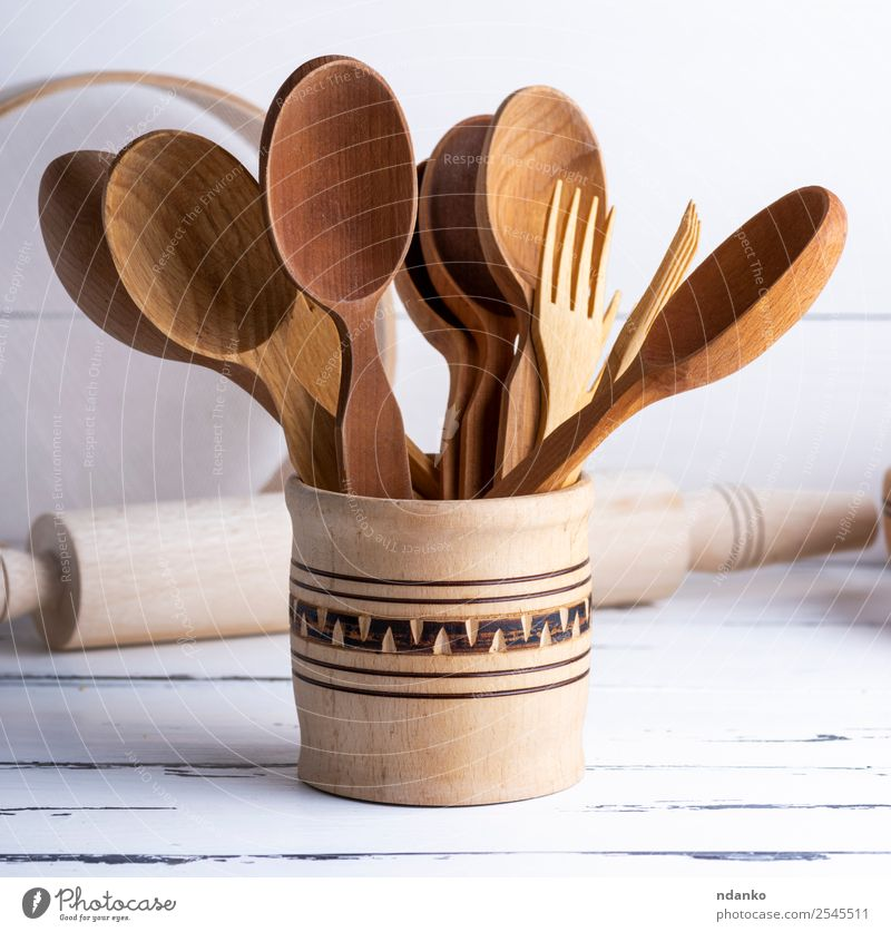 various wooden objects Cutlery Fork Spoon Table Kitchen Tool Sieve Wood Brown White Tradition food background utensils cooking space eat equipment Domestic