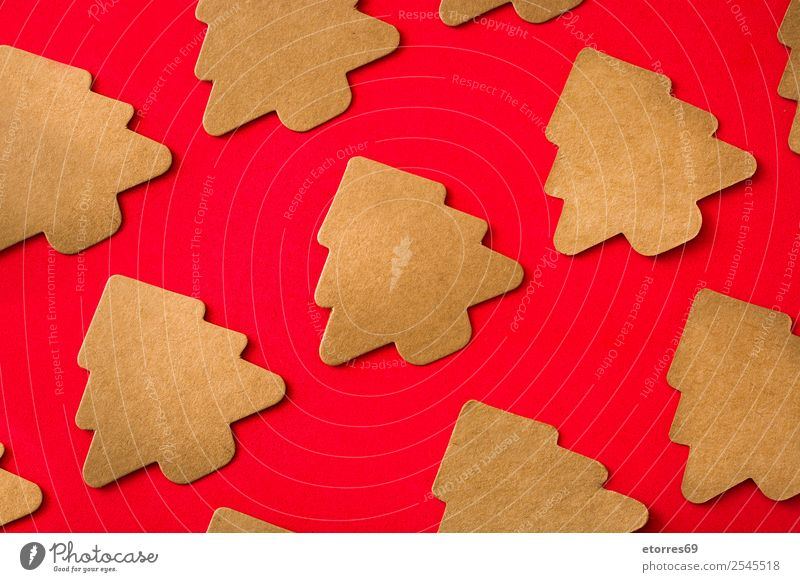 Christmas tree label pattern on red Vacation & Travel Christmas & Advent Red Background picture Feasts & Celebrations Copy Space Brown Decoration Gift