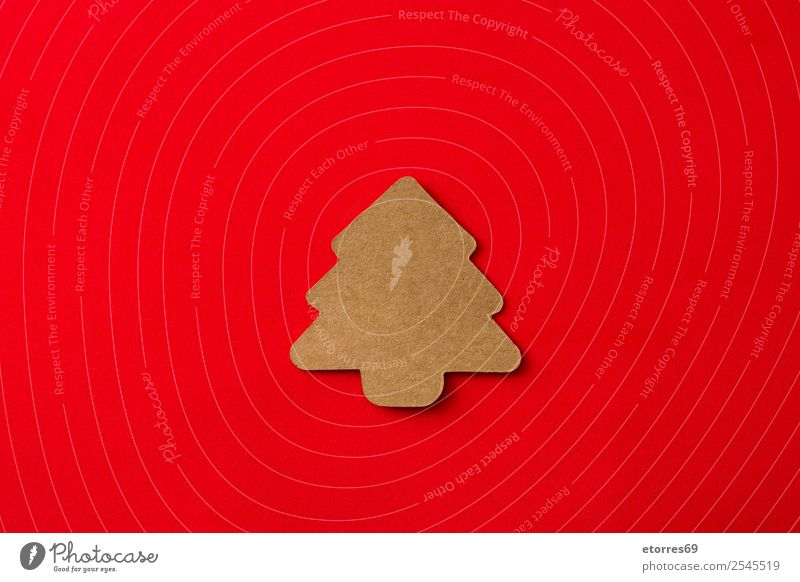 Christmas tree label on red background Vacation & Travel Red Background picture Feasts & Celebrations Copy Space Brown Decoration Gift Symbols and metaphors