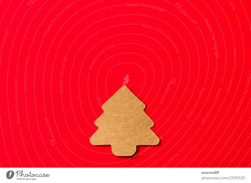 Christmas tree label on red background Vacation & Travel Christmas & Advent Red Feasts & Celebrations Copy Space Brown Decoration Gift Symbols and metaphors