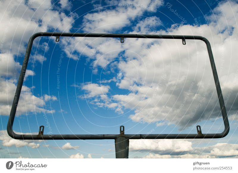 Sky Clouds Metal Free Empty Exceptional Communicate Signage Information Symbols and metaphors Advertising Beautiful weather Whimsical Expressionless Bizarre