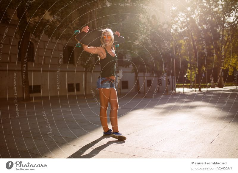 young skater woman Lifestyle Style Joy Beautiful Summer Woman Adults Downtown Street Sunglasses Blonde Cool (slang) Eroticism Hip & trendy casual longboard Hold