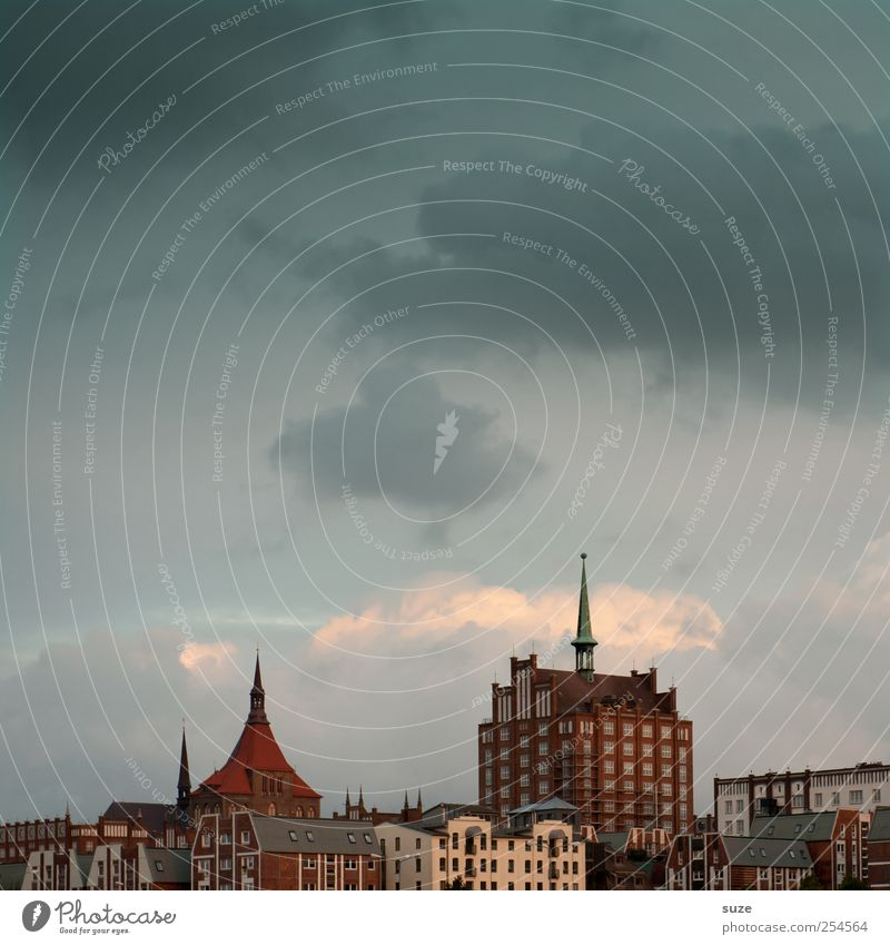 Rostock House (Residential Structure) Sky Clouds Town Old town Skyline Deserted City hall Architecture Authentic Uniqueness Germany