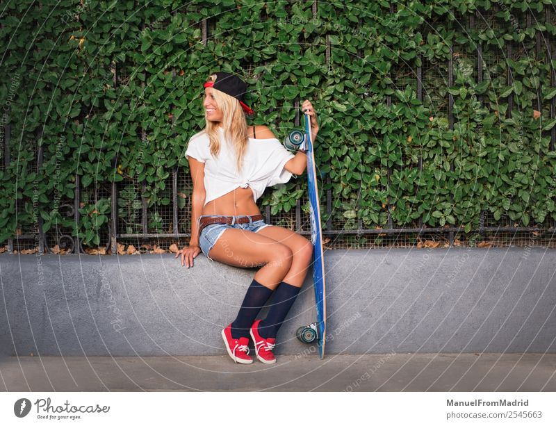 attractive woman skater Lifestyle Style Beautiful Summer Woman Adults Street Fashion Blonde Smiling Stand Cool (slang) Hip & trendy young casual Skateboard