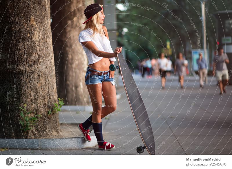 woman skater in the street Lifestyle Style Beautiful Summer Woman Adults Street Fashion Blonde Smiling Stand Cool (slang) Hip & trendy young casual Skateboard