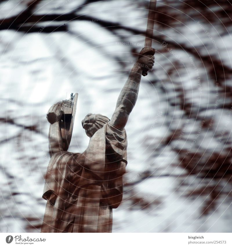 Winter Autumn Gray Stone Brown Power Europe Might Monument Strong Statue Landmark Capital city Symbols and metaphors Sword Ukraine