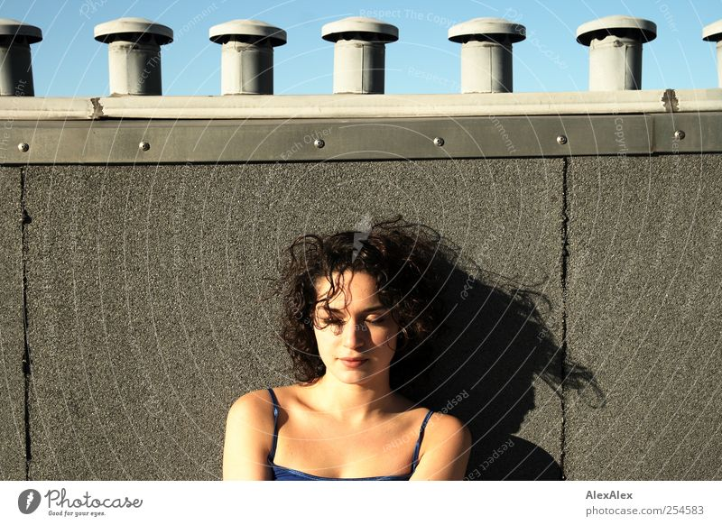 Woman Human being Youth (Young adults) Blue Beautiful Sun Summer Face Relaxation Feminine Adults Above Contentment Beauty Photography Roof