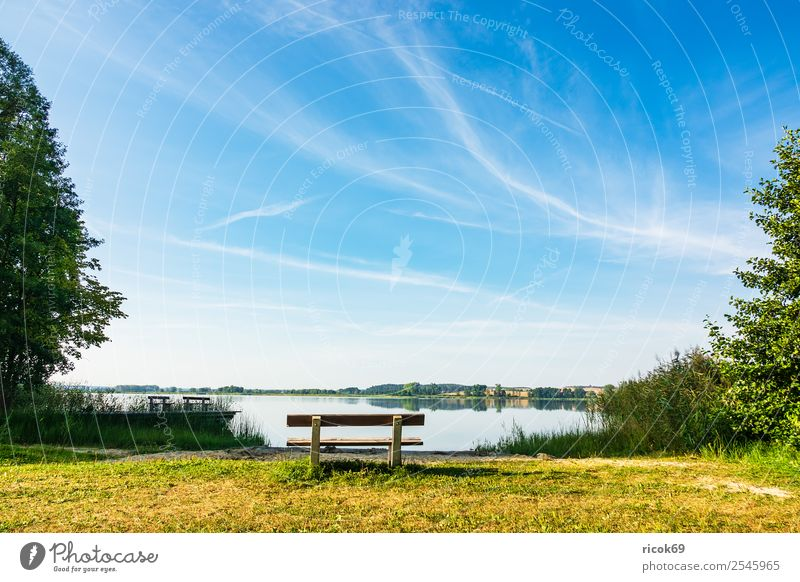 Landscape with lake in Potzlow Relaxation Fishing (Angle) Vacation & Travel Hiking Nature Clouds Tree Lake Blue Green Idyll Break Tourism potzlow Uckermark