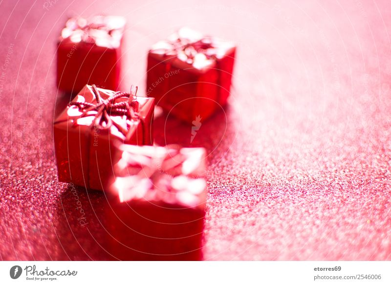 Red gift boxes and red glitter background. greeting Decoration Ornament Bright Vacation & Travel Feasts & Celebrations Public Holiday Presentation star Festive