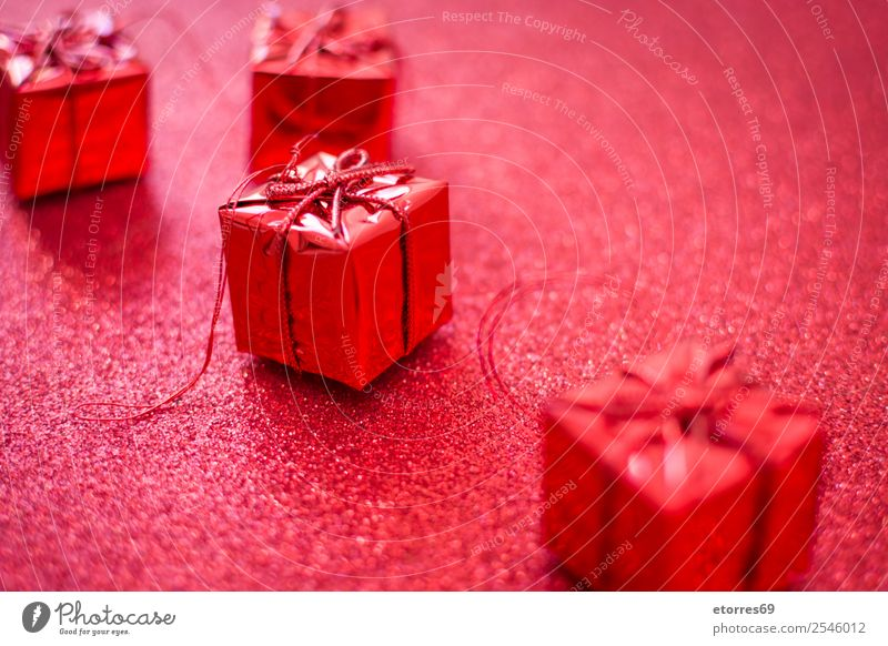 Red gift boxes and red glitter background. Vacation & Travel Christmas & Advent Colour Happy Feasts & Celebrations Bright Decoration Birthday Gift String